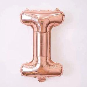 Baloane cu Litere - Balon Litera I, 42cm, rose-gold