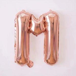 Baloane cu Litere Roz Aurii - Balon Litera M, 42cm, rose-gold