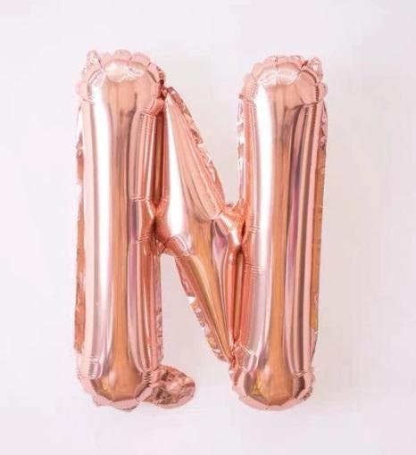 Baloane cu Litere Roz Aurii - Balon Litera N, 42cm, rose-gold