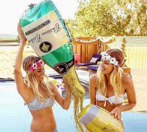 Balon Mare Sticla Sampanie, Heliu sau Aer - Baloane Petrecere Fete