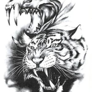Tatuaje Temporare: Cap de tigru si craniu