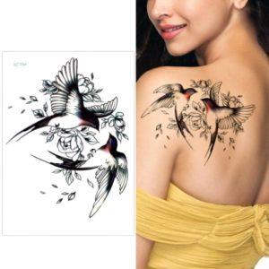 Tatuaje Temporare - Tatuaj Fata cu Pasari si Flori