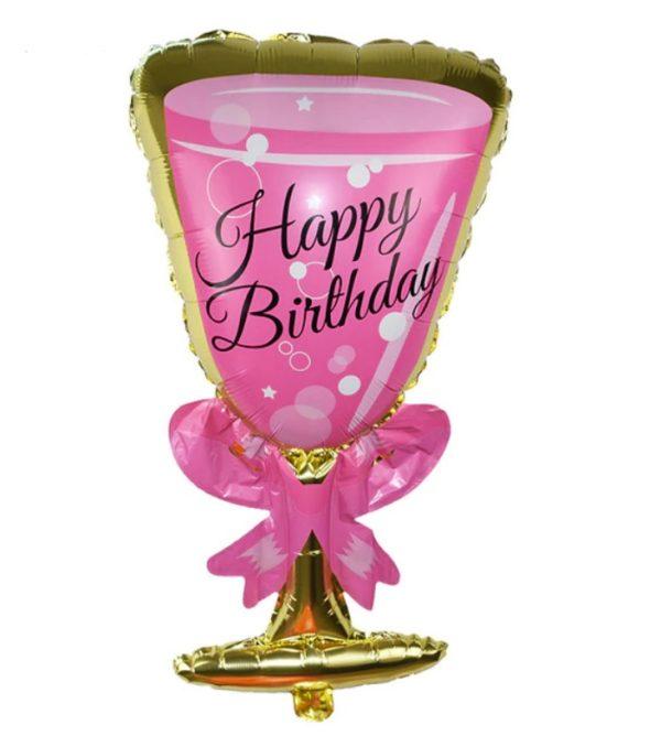 Balon Mare Pahar Sampanie culoare Roz cu Auriu, Heliu sau Aer