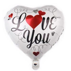 Balon in Forma de Inima, 44cm, Mesaj Love You - Baloane Valentine's Day - Heliu