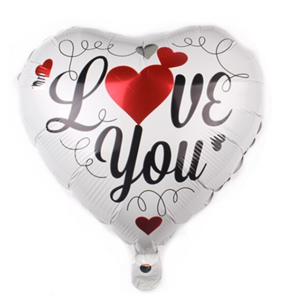 Balon in Forma de Inima, 44cm, Mesaj Love You - Baloane Valentine's Day - Heliu