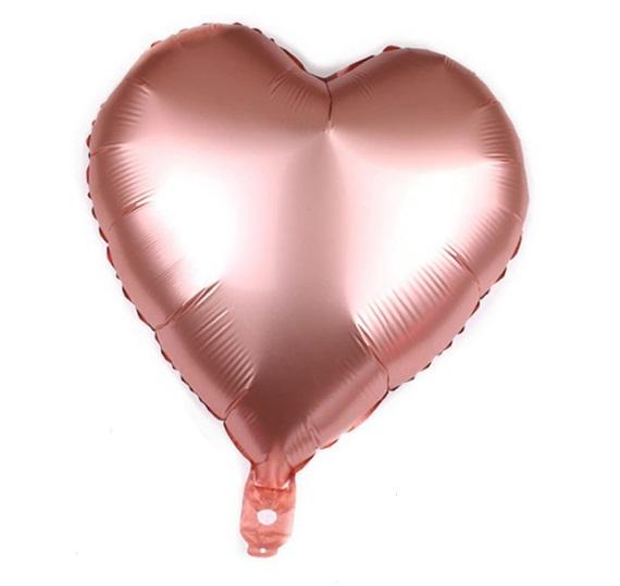 Balon in Forma de Inima culoare Rose Gold, 46cm, Heliu sau Aer - Valentine's Day