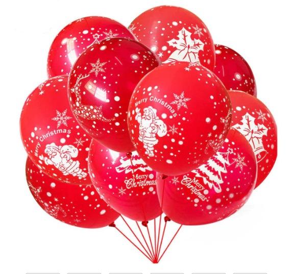 Set 10 Baloane Rosii Imprimate Mos Craciun - Merry Christmas