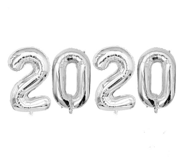 Set Baloane Cifre 2020 Argintii Pentru Petrecere Revelion, Anul Nou