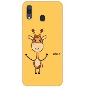 Husa Telefon Samsung Galaxy A30 - Culoare Galbena - Model Girafa: Hello