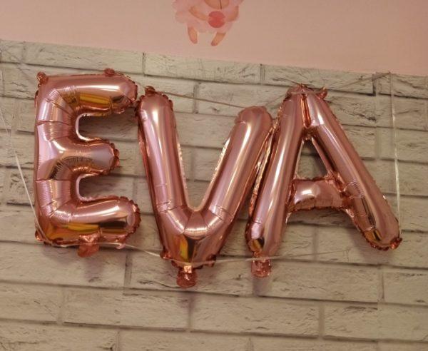 Set Baloane Litere Rose Gold Nume: EVA - Heliu Sau Aer