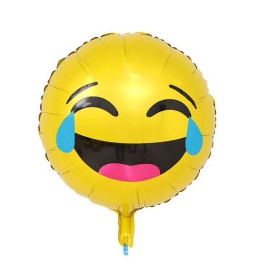 Balon Smiley Emoticon care Rade cu Lacrimi, 44 cm, Heliu sau Aer