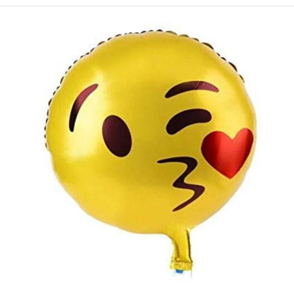 Balon Smiley Emoticon Sarut cu Inima, 44 cm, Heliu sau Aer