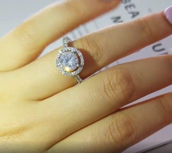 Inel de logodna din argint 925, piatra mare