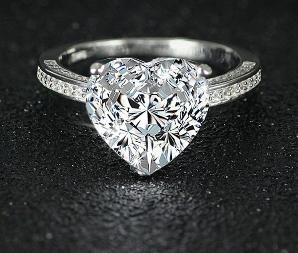 Inel de logodna din argint 925, zirconiu, forma inima
