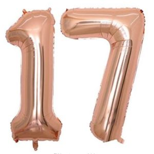 Set baloane uriase numar 17, rose gold, heliu sau aer