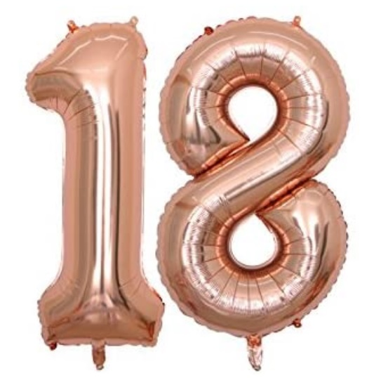Set baloane mari cifre 18, majorat, culoare rose gold - Balon 18