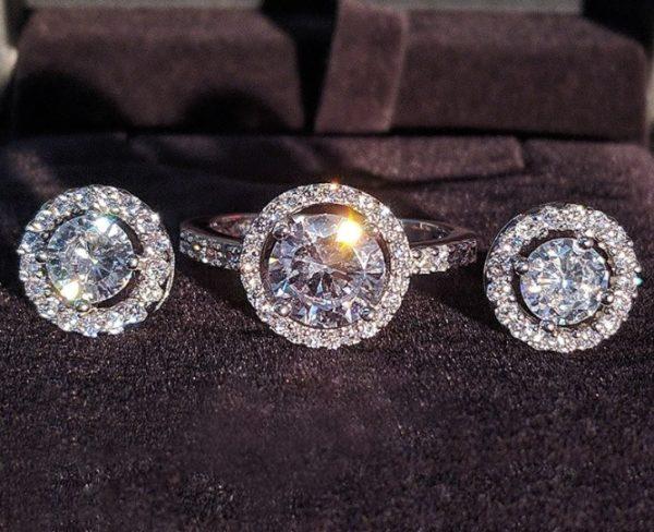 Set bijuterii inel si cercei din argint 925, piatra zirconiu