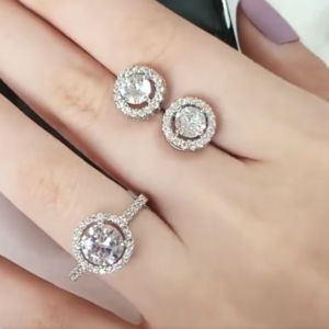Set inel si cercei din argint 925, piatra zirconiu, rotunzi