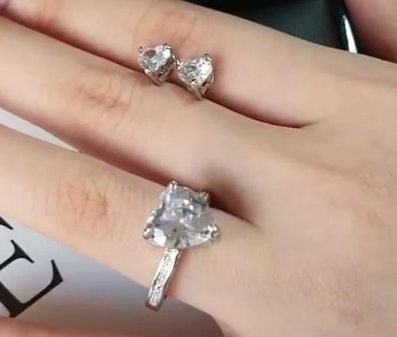 Set bijuterii inel si cercei din argint 925, piatra zirconiu, inima