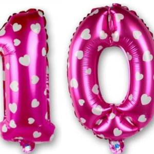 Set baloane cifre numar 10, roz cu inimi, 42cm