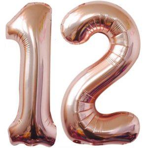 Baloane cifre numar 12, rose gold, 75cm - Balon 12