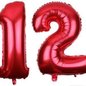 Baloane Cifre Numar 12, Rosii, 42cm - Balon 12