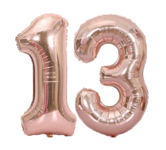 Set baloane cifre numar 13, rose gold, 75cm, heliu sau aer - Balon 13