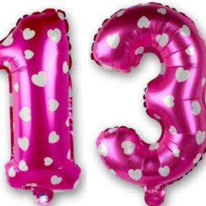 Set Baloane Cifre Numar 13, Roz cu Inimi, 42cm - Balon 23