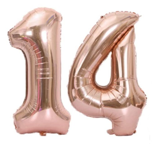 Set baloane cifre numar 14, rose gold, 75cm, heliu sau aer