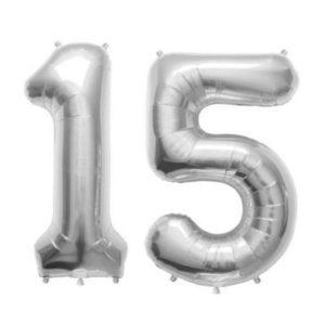 Set Baloane Mari Cifre Numar 15, Argintii, 75cm