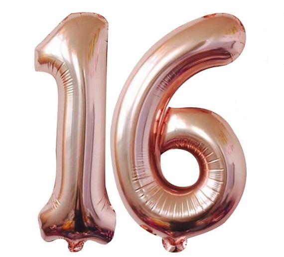 Baloane cifre numar 16, rose gold, 75cm - Balon 16