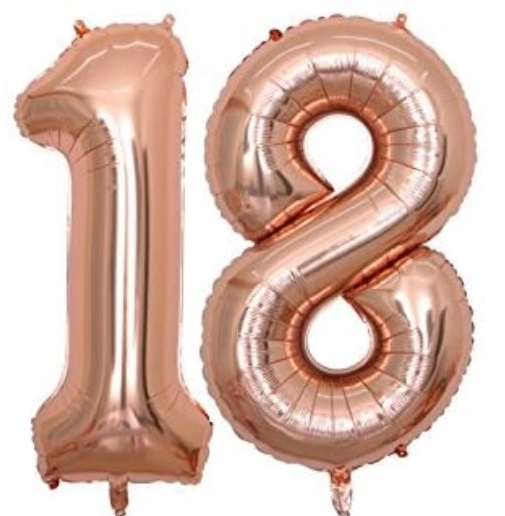 Set baloane cifre numar 18, rose gold, 75cm, majorat - Balon 18