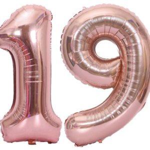 Baloane cifre numar 19, rose gold, 75cm