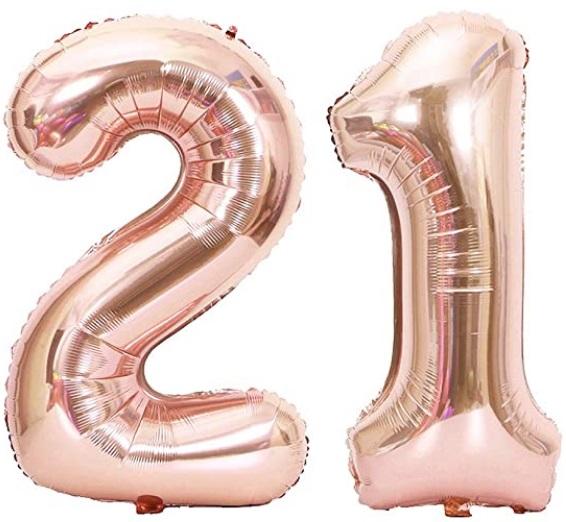 Set baloane cifre numar 21, rose gold, 75cm, heliu sau aer