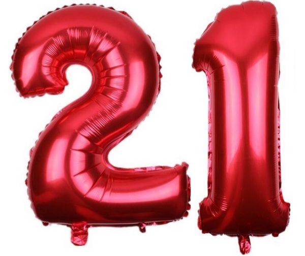 Set Baloane Cifre Numar 21, Rosii, 42cm