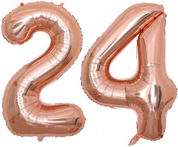 Set Baloane Mari Cifre Numar 24, Aurii Rose Gold