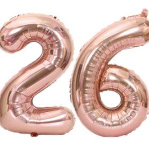 Set baloane cifre numar 26, rose gold, 75cm