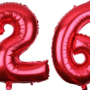 Set Baloane Cifre Numar 26, Rosii, 42cm
