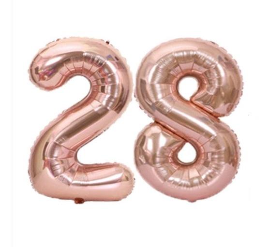 Set Baloane Mari Cifre Numar 28, Aurii Rose Gold, 75cm - Balon 28