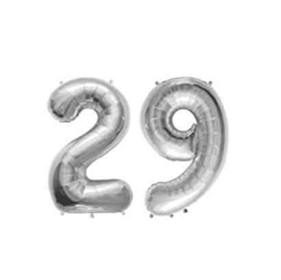 Set baloane mari cifre numar 29, argintii, 75cm