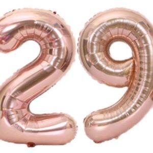 Set baloane cifre numar 29, rose gold, 75cm, heliu sau aer - Balon 29 Pot fi umflate cu aer sau heliu