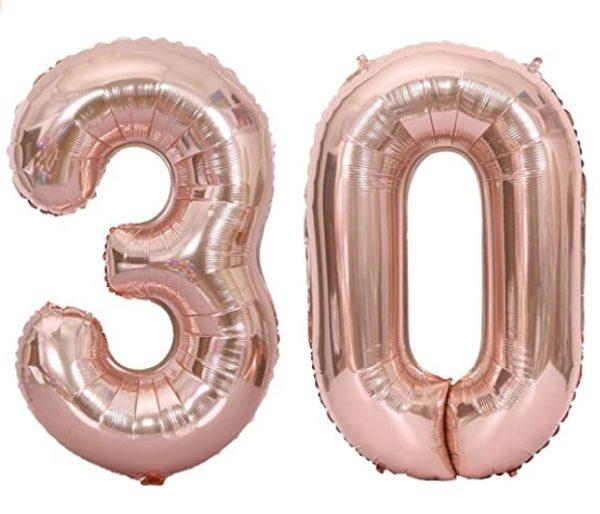 Set baloane cifre numar 30, rose gold, 75cm - Balon 30