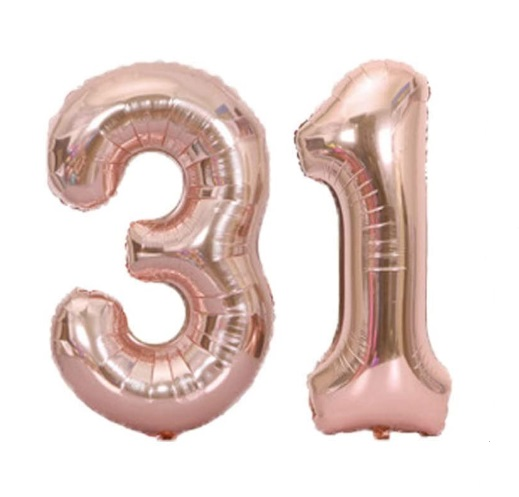 Set baloane mari cifre numar 31, rose gold, 75cm