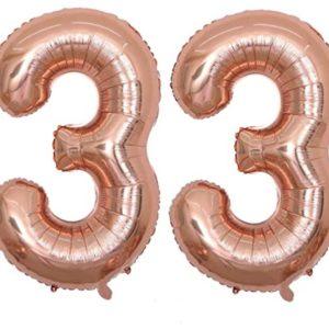 Baloane Mari Cifre 33, Rose Gold, 1 Metru - Balon 33