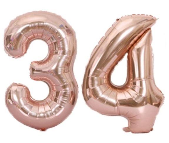 Baloane cifre numar 34, rose gold, 75cm - Baloane Numere