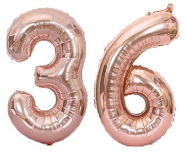 Set baloane mari cifre numar 36, rose gold, 75cm - Balon 36
