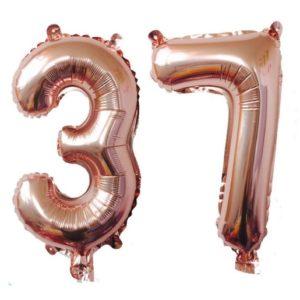 Set baloane mari cifre numar 37, rose gold, 1 metru - Balon 37