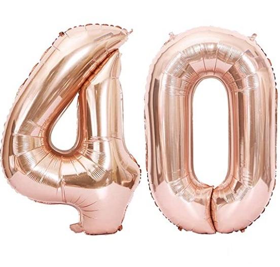 Set baloane mari cifre numar 40, rose gold, 1 metru - Balon 40