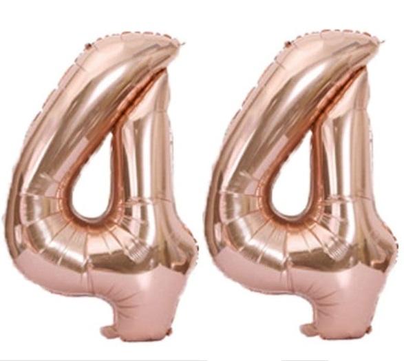 Set baloane cifre numar 44, rose gold, 75cm, heliu sau aer - Balon 44