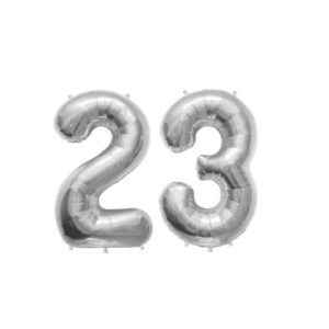 Set Baloane Mari Cifre Numar 23, Argintii, 75cm, Heliu sau Aer